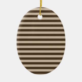 Ornement Ovale En Céramique Rayures minces - brun clair et Brown foncé