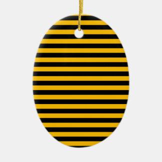 Ornement Ovale En Céramique Rayures minces - noir et ambre