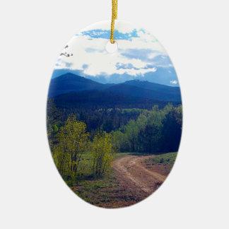 Ornement Ovale En Céramique Région sauvage de montagne rocheuse