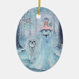 Ornement Ovale En Céramique Reine magique d'hiver avec l'ornement de lion par