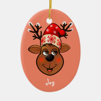 Ornement Ovale En Céramique Renne mignon avec le casquette de Noël