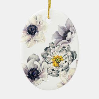 Ornement Ovale En Céramique Ressort frais de fleur d'anémone florale de
