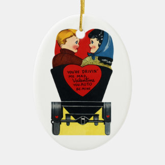 Ornement Ovale En Céramique Rétro Saint-Valentin vintage, histoires d'amour