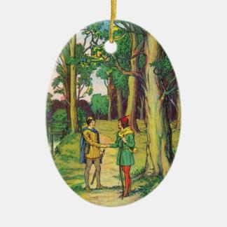 Ornement Ovale En Céramique Robin Hood et petit John