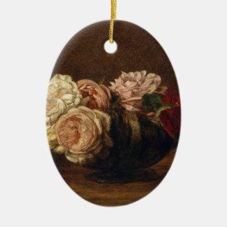 Ornement Ovale En Céramique Roses dans une cuvette - Henri Fantin-Latour