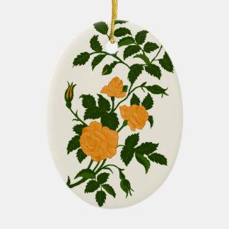 Ornement Ovale En Céramique Roses jaunes, personnalisés de retour