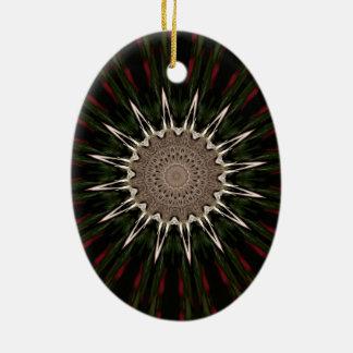 Ornement Ovale En Céramique Rouge-brun vert-foncé de conception de