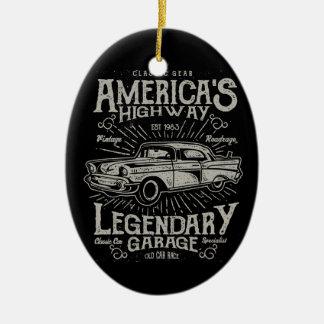 Ornement Ovale En Céramique Route de la voiture | Hotrod américain classique