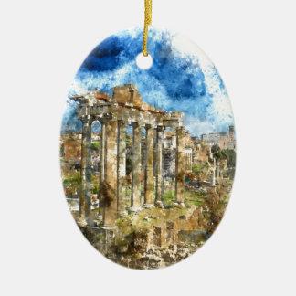 Ornement Ovale En Céramique Ruines à Rome