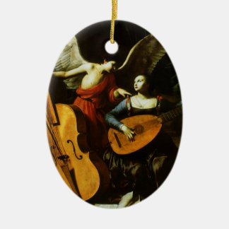 Ornement Ovale En Céramique Saint Cecilia et l'ange par Carlo Saraceni