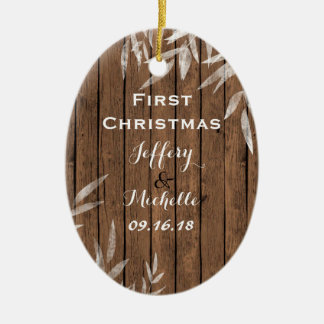 Ornement Ovale En Céramique Saule rustique personnalisé sur ęr Noël en bois