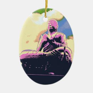 Ornement Ovale En Céramique Série de Dharma Bouddha