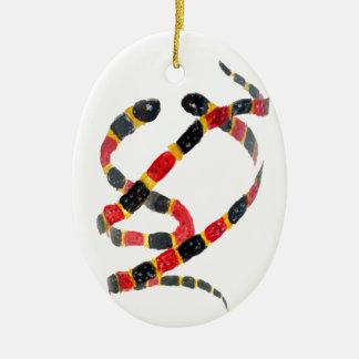 Ornement Ovale En Céramique Serpents de corail d'art de faune
