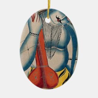 Ornement Ovale En Céramique Shiva ivre tenant l'agneau