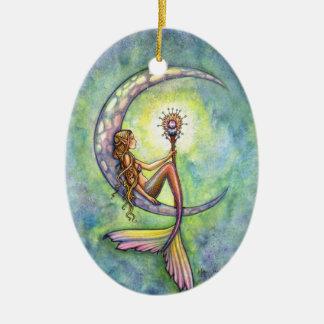 Ornement Ovale En Céramique Sirène et l'art d'imaginaire de lune