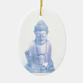 Ornement Ovale En Céramique souris blanche bleue et minuscule de Bouddha