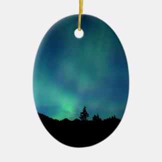 Ornement Ovale En Céramique Special léger bleu, l'aurore Borealis