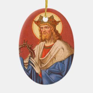 Ornement Ovale En Céramique St Louis double face IX le roi (P.M. 05)
