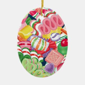 Ornement Ovale En Céramique Sucrerie démodée de Noël