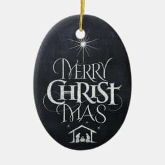 Ornement Ovale En Céramique Tableau religieux de Joyeux du Christ Noël de MAS
