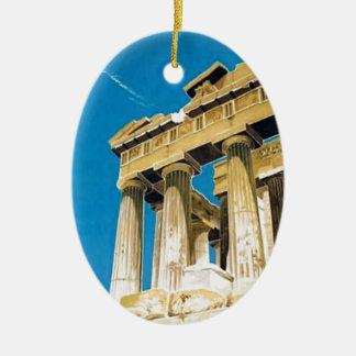 Ornement Ovale En Céramique Temple vintage de parthenon d'Athènes Grèce de