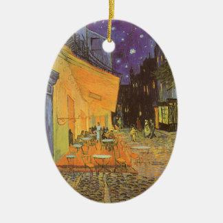 Ornement Ovale En Céramique Terrasse de café la nuit par Vincent van Gogh