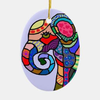 Ornement Ovale En Céramique Tête artistique abstraite colorée d'éléphant