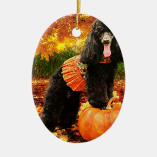 Ornement Ovale En Céramique Thanksgiving de chute - Gidget - caniche