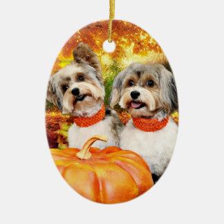 Ornement Ovale En Céramique Thanksgiving de chute - maximum et Lion - Yorkies