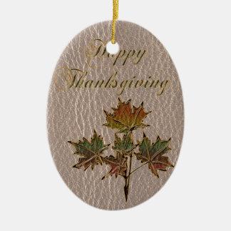 Ornement Ovale En Céramique Thanksgiving simili cuir 2