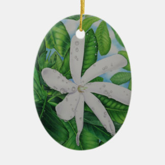Ornement Ovale En Céramique Tiare Tahiti