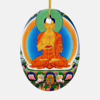 Ornement Ovale En Céramique Tibétain Thangka Prabhutaratna Bouddha
