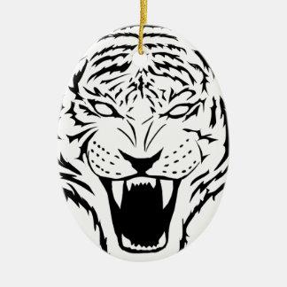 Ornement Ovale En Céramique tigre
