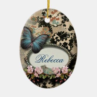 Ornement Ovale En Céramique victorian floral de papillon d'éphémères de