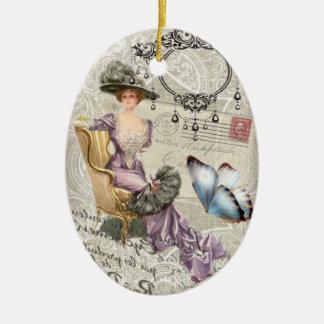 Ornement Ovale En Céramique victorian minable de cru de lustre d'élégance