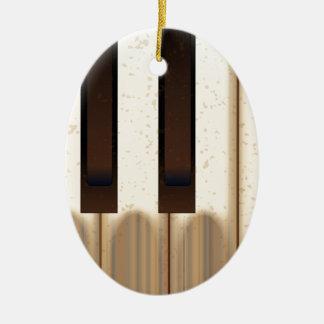 Ornement Ovale En Céramique Vieilles clés portées de piano