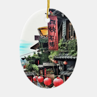Ornement Ovale En Céramique Village de montagne et salon de thé chinois
