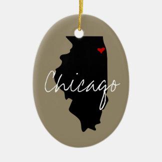 Ornement Ovale En Céramique Ville de l'Illinois