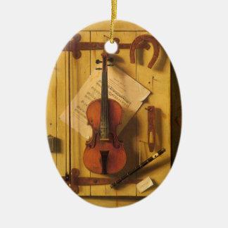 Ornement Ovale En Céramique Violon et musique toujours de la vie par William