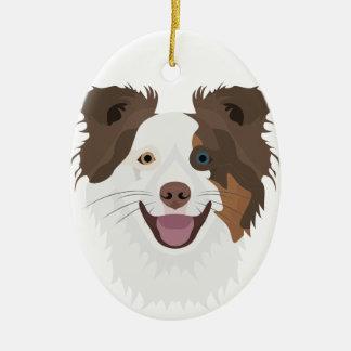 Ornement Ovale En Céramique Visage heureux border collie de chiens