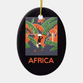 Ornement Ovale En Céramique Voyage vintage d'art déco, indigène dans la jungle