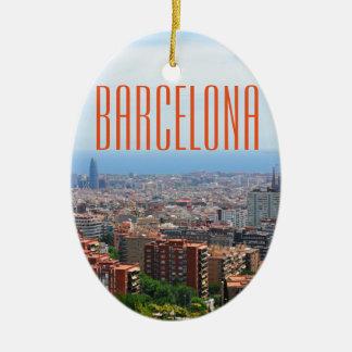 Ornement Ovale En Céramique Vue aérienne de Barcelone, Espagne