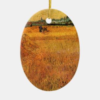 Ornement Ovale En Céramique Vue de Van Gogh des champs de blé dans Arles,