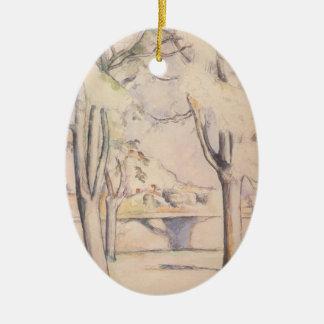 Ornement Ovale En Céramique Vue par les arbres par Paul Cezanne, art vintage