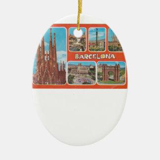 Ornement Ovale En Céramique Vue rétrospective de Barcelone