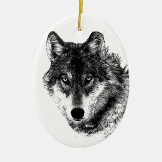 Ornement Ovale En Céramique Yeux inspirés blancs noirs de loup