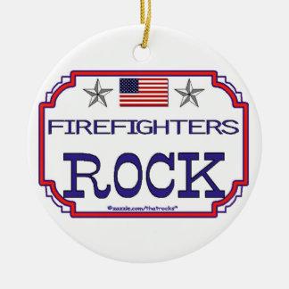 Ornement patriotique de roche de sapeurs-pompiers