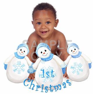 Ornement Photo Sculpture Ă?re coutume de bonhomme de neige de Noël du bébé