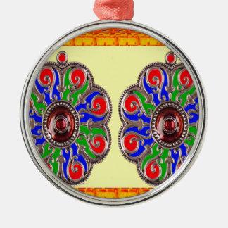 Ornement Rond Argenté 2 décorations d'Indien d'Ethinic de bijou de