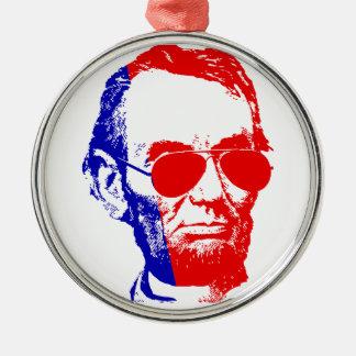 Ornement Rond Argenté Abraham Lincoln